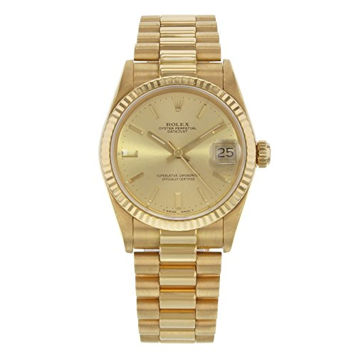 Rolex Datejust Vintage 1986 President 30mm 68278 18K Yellow Gold Midsize Watch B/P (Certified (Ladies Rolex Datejust President Watch)