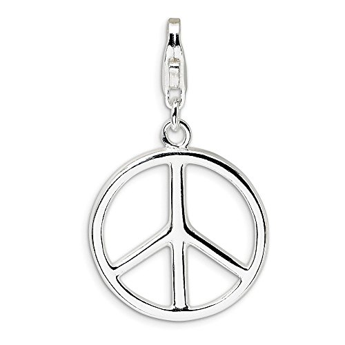 (925 Sterling Silver Rh Large Peace Sign Lobster Clasp Pendant Charm Necklace Fine Jewelry Gifts For Women For Her)