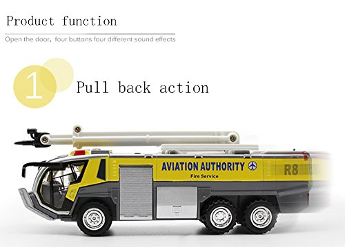 Ailejia Airport Diecast Fire Truck Engine Pullback Friction Toy Engineering  vehicle fire truck model (yellow)