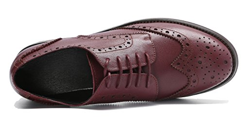 Brogues Lace Flat Shoes Leather U Wingtip lite Burgundy Perforated Women's Oxfords up Vintage Oxford xBt70TB