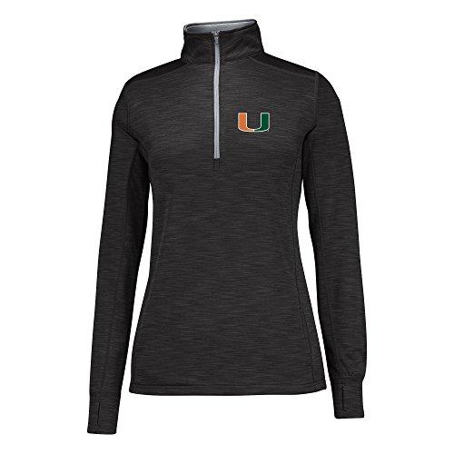 J America NCAA Miami Hurricanes Women's Courtside Poly Fleece 1/2 Zip Jacket, Large, Black/Cement