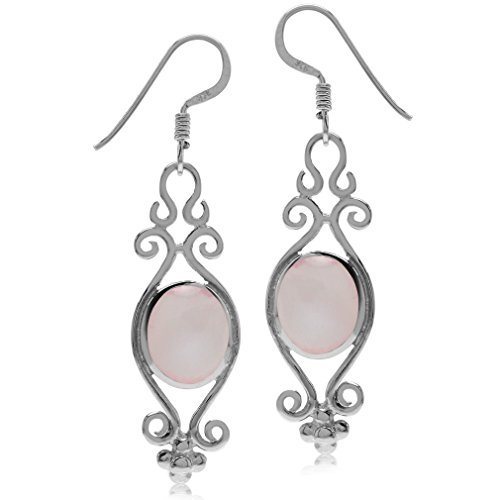 Pink Mother of Pearl Inlay White Gold Plated 925 Sterling Silver Victorian Style Dangle Earrings
