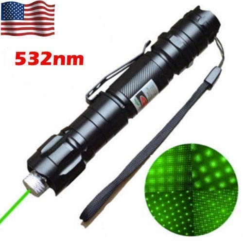 SALM Tactical Green Hunting Rifle Scope Sight Laser Pen, Pen Pointer Projector Travel Outdoor Flashlight, LED Interactive Baton Funny Laser Toy with Star Cap (Laser Infrared Pointers)