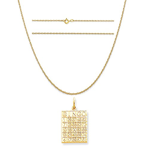 10k Yellow Gold Solid Bingo Card Charm on a 14K Yellow Gold Carded Rope Chain Necklace, (14k Gold Bingo Card Charm)