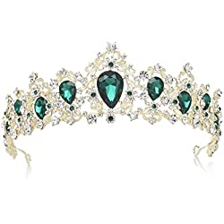 SWEETV Royal CZ Crystal Tiara Wedding Crown Princess Headpieces Bridal Hair Accessories, Emerald+Light Gold