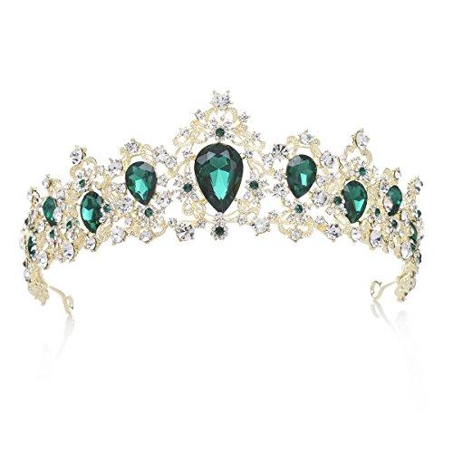 SWEETV Royal CZ Crystal Tiara Wedding Crown Princess Headpieces Bridal Hair Accessories, Emerald+Light Gold