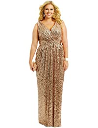 HUINI Sparkly Plus Size Bridesmaid Dresses Sequin Long Prom Evening Gowns