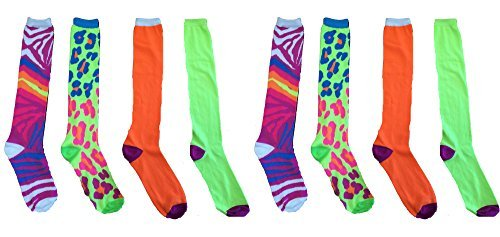 - Tall Boot Knee High Over the Calf Ladies Knee-hi Novelty Socks (Neon Green Leopard print - Neon Pink Zebra print - Lime Green with purple toe heel - Neon Orange with purple toe heel (8 Pack - 2 Of Each Style))