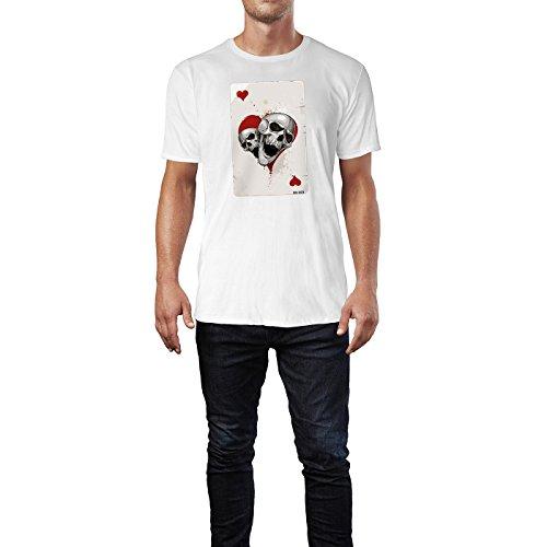 SINUS ART ® Herz Ass Karte mit Totenköpfen Herren T-Shirts in Weiss Fun Shirt mit tollen Aufdruck