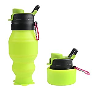 Collapsible Water Bottle 18oz, YUANFENG Leak Proof BPA Free Silicone Foldable Sports Outdoor Travel Water Bottles (Green)
