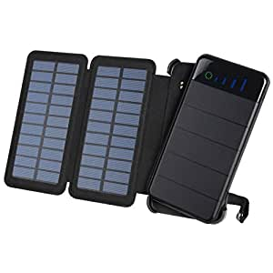 WBPINE Solar Charger 10000mAh Foldable with 2 Solar Panels and Dual USB Port for iPhone X,Samsung S9/Note 8 and More