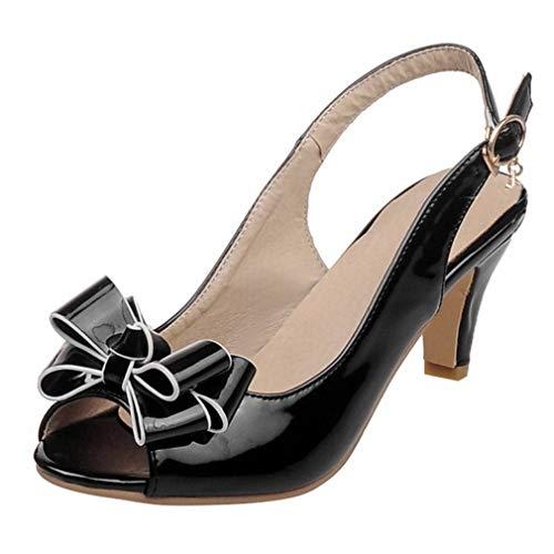 A Slip Estivi Fiocco Scarpe Decolte Cono Vernice Sandali Alto Vitalo Con Spillo Nero Eleganti Donna Tacco Aperte Toe Peep On waq0wfPxv
