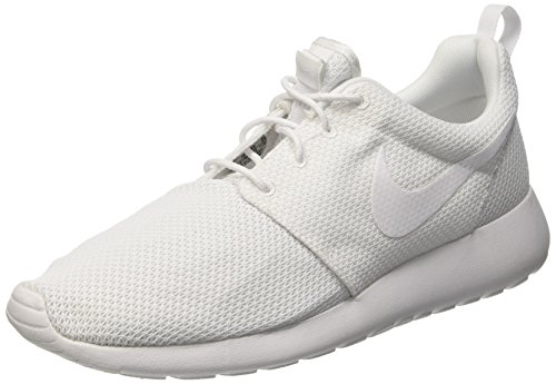 Nike Mens Roshe One Athletic Low Top Sport White Running Mesh Sneakers - White/White - 12 (Basketball Shoes One)