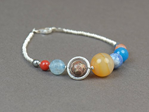 Solar System Bracelet.Gemstones and sterling silver beads bracelet.Galaxy ()