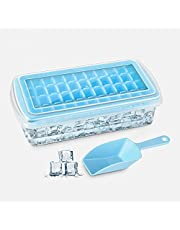 Ice Cube Tray - Silicone Ice Cube Tray - Silicone Mould, Ice Cube Tray With Lid And Bin, Ice Cube, Ice Mold Bucket, Ice Cubes Mould, Freezer Storage, Ice Maker Cube Storage, Silicone Freezer, Tray With Lid, Ice Cube Trays Plastic, Comes With Scoop