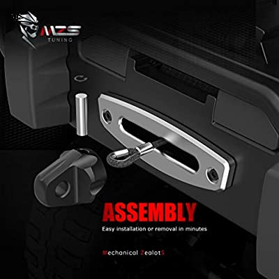 MZS Winch Shackle Mount with Pin & Rubber Guard - Universal Fit 20,000lb Black: Automotive