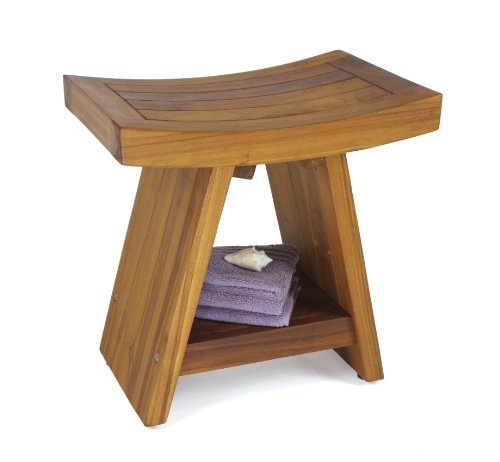 The Original Asia 18'' Teak Shower Bench with Shelf by AquaTeak