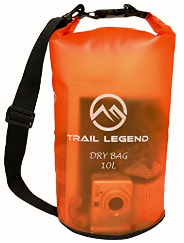 Trail Legend - Floating Waterproof Dry Bag - Transparent Orange - 10 Liter - Keeps Your Gear Safe & Dry - for outdoor water sports, boating, rafting, hiking, backpacking, camping