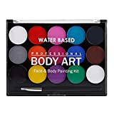 Prettyia Profesional 15 Colores A Base De Agua Y Pintura Corporal +1 Pinceles Maquillaje De Fiesta