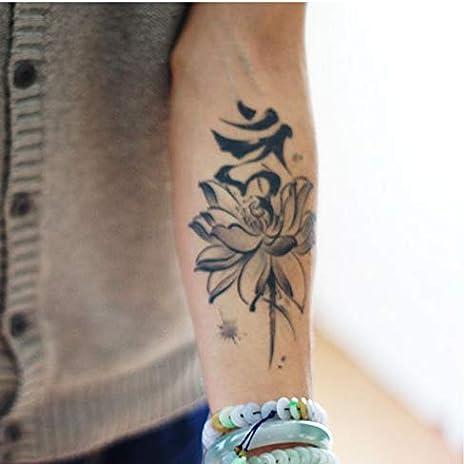 yyyDL Etiqueta engomada del tatuaje Flores de loto grande etiqueta ...