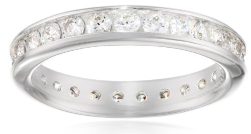 Platinum-Plated Sterling Silver Swarovski Zirconia Channel Set All-Around Band Ring (1 cttw), Size 6 ()