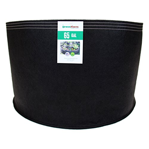 (50 Pack) 65 Gallon Black Grassroots Fabric Pot - Grow Pot and Aeration Container by Grassroots Fabric Pots