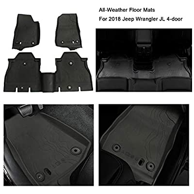 WINUNITE Front and Rear Black Slush Floor Mats for 2020 2020 2020 Jeep Wrangler JL JLU 4 Door All Weather Guard TPE Protector Floor Carpet Liner Set - Not for old body style Wrangler JK: Automotive