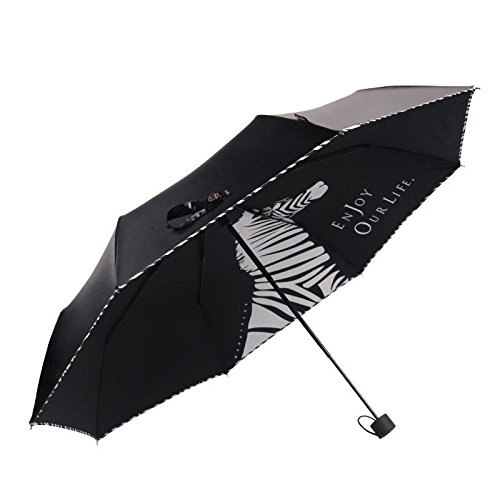 Black Summer Womens Parasol Zebra Style Sunny Rainy Ultraviolet-Proof Rain Umbrella by Umbrella Compact