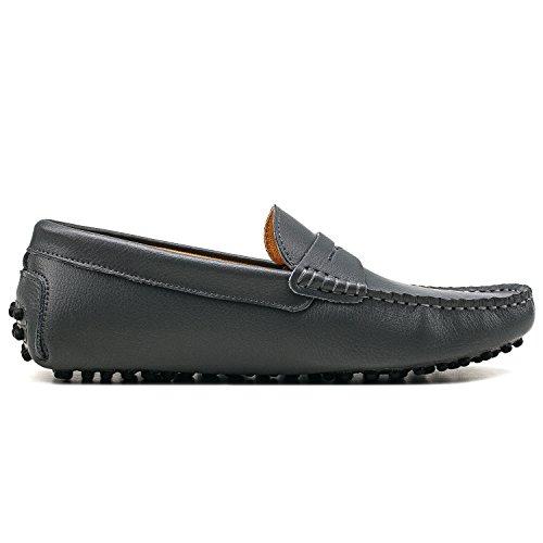 Scarpe di comode D7152 Casual Shenduo Liscia Grigio Mocassini Scarpe Uomo Loafers Uomo Pelle TwxOqC