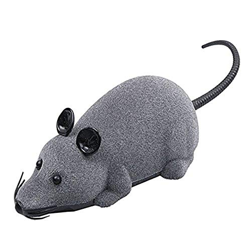 AUKMONT Remote Control Fake Toy Rat Powered by Batteries (Exclude) Trick Toys Mouse Joke Scary Trick Bugs (Grey)