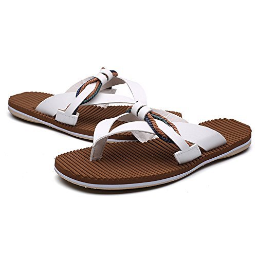 Thong Leather Black Flops Sandals Men's Soft Flip Sunny amp;Baby 9 Abrasion Size 5MUS Color Anti White Resistant Sole Beach Genuine Slippers Skid TCqw8wx