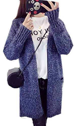 Outwear Cappotto Grazioso Giubotto Tasche Giacca Fashion Aperto Sciolto Eleganti Lunghe Con Lunghi Pullover Donna Invernali A Blau Maglia Maniche Casual Comodo Forcella Autunno Ragazze Stlie qrqc1CP