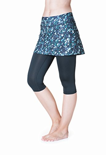 Skirt Sports Women's Lotta Breeze Capri Skirt, Skirted Capri Leggings, Made with Moisture-Wicking Breathable Material and Hidden Pocket, Love Triangle Print/Black, Small (Skirt Breeze)