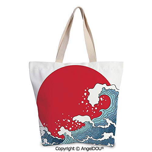 SCOXIXI Japanese Wave Women's Canvas Shoulder Hand Bag Tote Bag Big Red Sun Set