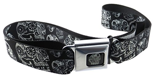Sugar Skulls Thaneeya Seatbelt Belt Dust of Living Black and White