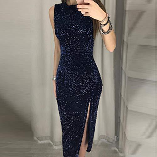 Lustrino Dress Elegante VestitoPolpqed Lungo Semplice Moda Bordo Puro Colore Blu O Donna Diviso Estiva Maniche collo Sexy Irregolare Senza W2DeHYE9I