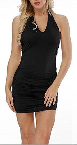 Sexy Backless Solid Club Dress Black Ruched Halter Jaycargogo Bodycon Mini Womens xBnaff