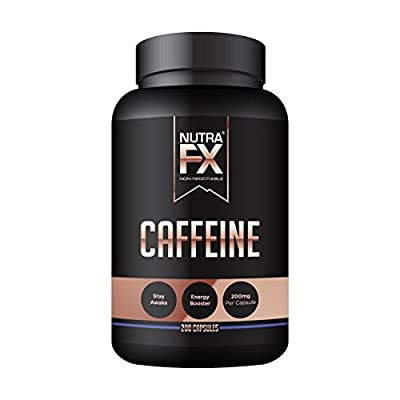 NutraFX Caffeine Pills 200mg Double Strength Energy and Focus Natural Stimulant 100% Pure Anhydrous Caffeine Powder | Energy Booster Mental Alertness and Fat Burner (200 Capsules)