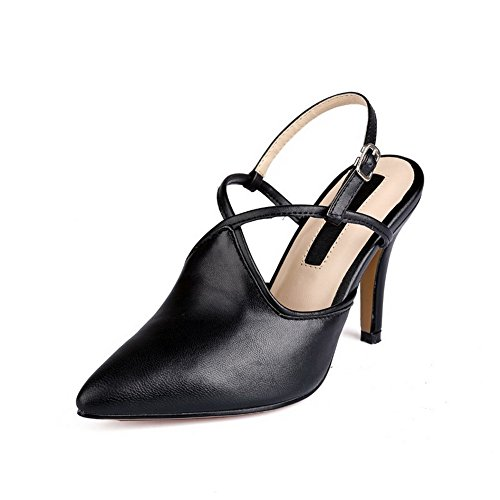 Black Pointed Spikes Toe Stilettos Pumps Buckle AmoonyFashion Sheepskin Solid Womens Shoes pqwCSC6Z