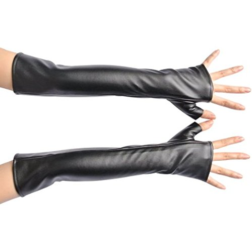 NAVADEAL Black PU Long Arm Warmer Dress Up Fingerless Gloves Lady Gaga Gossip Girl
