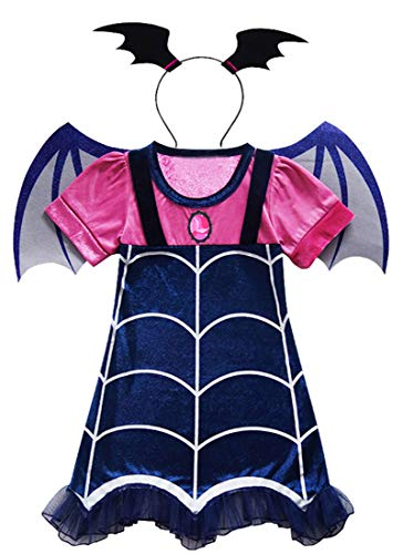 AOVCLKID Vampirina Costume Little Girls Dress up Toddler Baby Christmas Cosplay Outfit Kids Party Dresses (Blue,150/7-8Y)