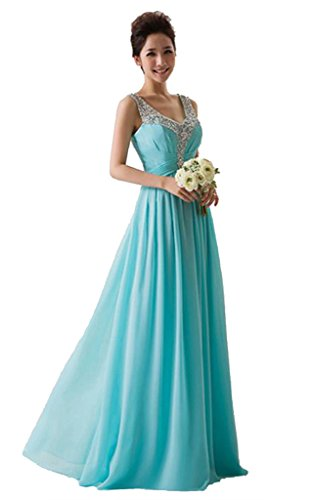 Rohmbridal Turquoise Chiffon Long Formal Prom Bridesmaid Dress ( Turquoise 18 )