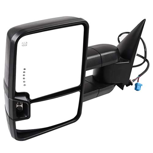 SCITOO Towing Mirror Exterior Accessories Mirror fit for 2003-2006 Chevy Silverado/GMC Sierra Pickup with Black Left Side Power Heated Turn Signal Puddle lamp