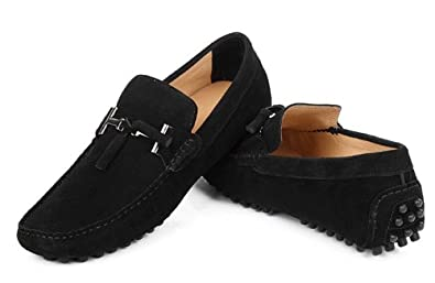 Amazon.com | HAPPYSHOP(TM Mens Moccasins Suede Loafers Shoes Slip-on Driving Shoes EUR Size 38-45 Black | Loafers & Slip-Ons