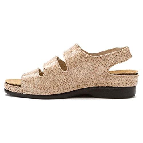 Helle Comfort Womens Tulin Leather Sandals Capuchino Cobra Print