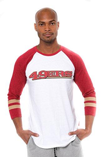 NFL San Francisco 49ers Men's Raglan Baseball Team Logo 3/4 Long Sleeve T-Shirt Top, White, Large