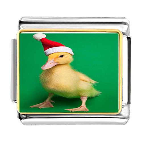 (GiftJewelryShop Gold Plated Wearing a Santa Hat Duck Bracelet Link Photo Italian Charms)