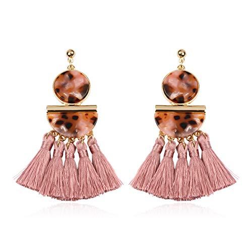 (Bohemian Silky Thread Fan Tassel Statement Drop - Vintage Gold Feather Shape Strand Fringe Lightweight Hook/Acetate Dangles Earrings/Long Chain Necklace (Geometric Acetate Tassel - Dusty Pink) )