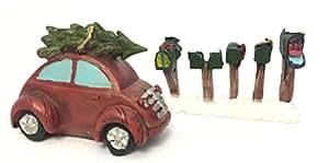 Resina en miniatura decoración de Navidad ha de coche rojo con árbol de Navidad y buzones de puestos