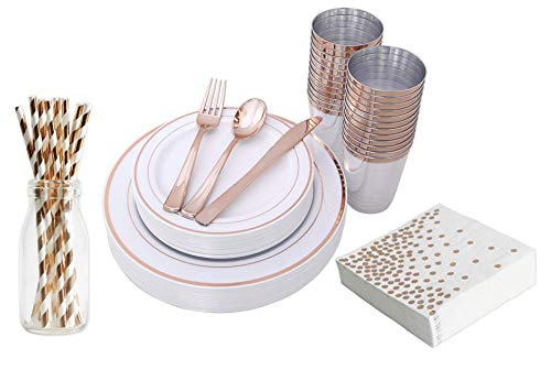 H3 Innovations-200pc Rose Gold Plastic Plates, Rose Gold Silverware, Rose Gold Plates, Rose Gold Cups, Rose Gold Napkins, Rose Gold Straws, Rose Gold Disposable Dinnerware by H3 Innovations (Image #7)